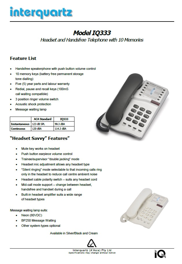 Interquartz Adelaide, Interquartz Australia, IQ333, Analogue Business Telephone, Single Line Telephones